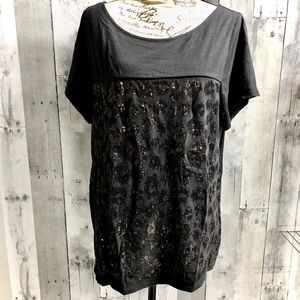 Lane Bryant sequin leopard tshirt black 18/20